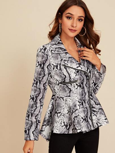 Snakeskin Print Zip Up Jacket