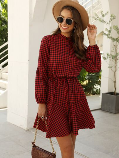 Button Front Drawstring Waist Gingham Dress