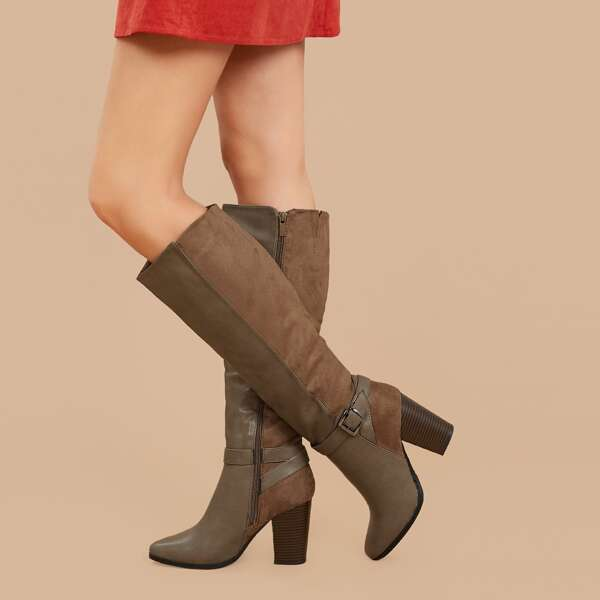 Side Buckle Textured Stacked Heel Knee High Boots, Brown