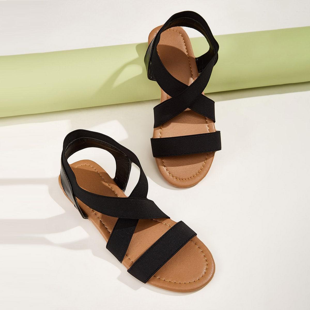Elastic Cross Strap Sandals