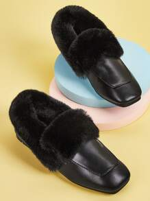 Contrast Faux Fur Square Toe Loafers