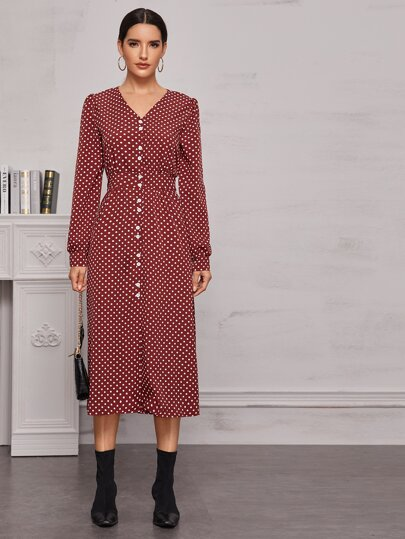 Polka Dot Button Front Dress