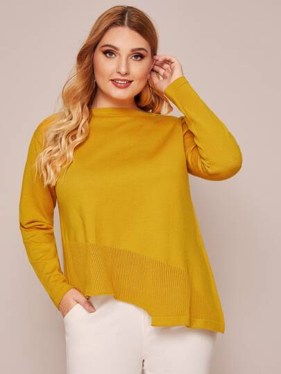 Plus Solid Asymmetrical Hem Sweater