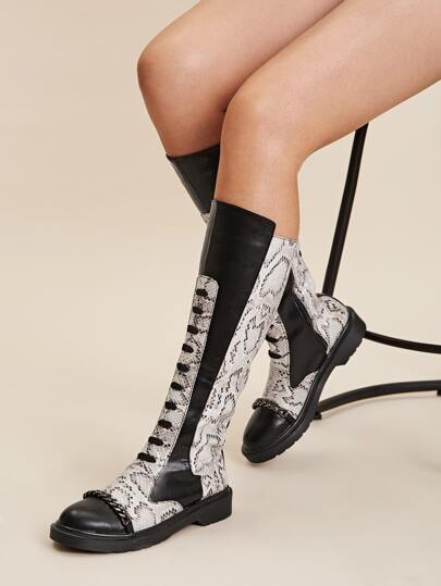 Snakeskin Print Chain Decor Boots