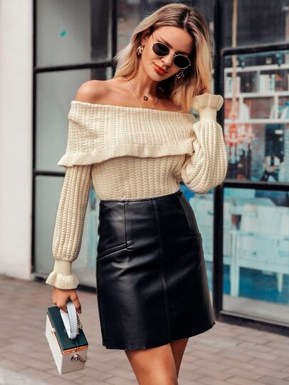 Simplee Foldover Off Shoulder Ruffle Cuff Sweater
