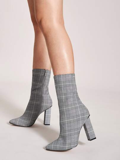 Point Toe Plaid Chunky Boots