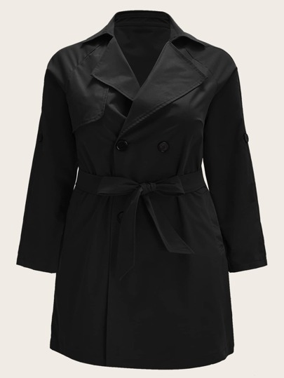 Plus Waterfall Self Tie Double Breasted Trench Coat