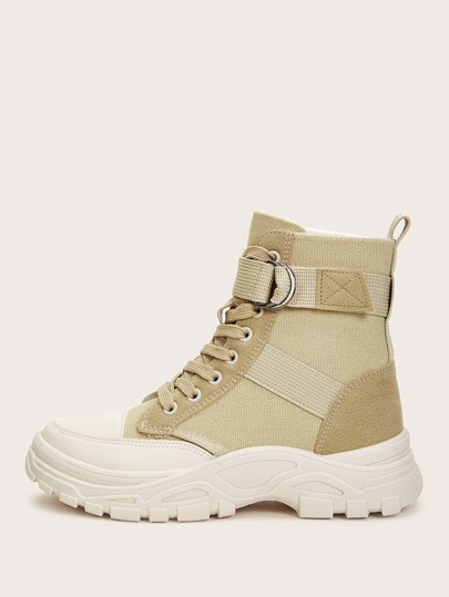 Lace-up Front Canvas Hiking Boots