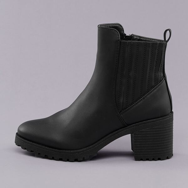 Side Goring Lug Sole Chelsea Booties, Black