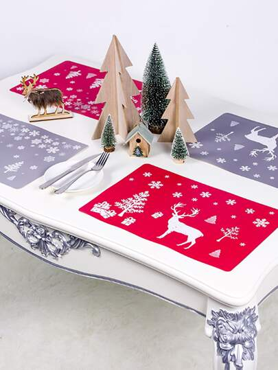 2pcs Christmas Print Placemat & 2pcs Coaster