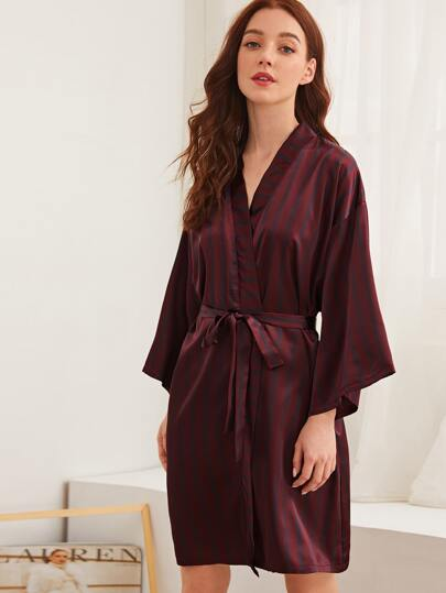 Striped Belted Satin Robe