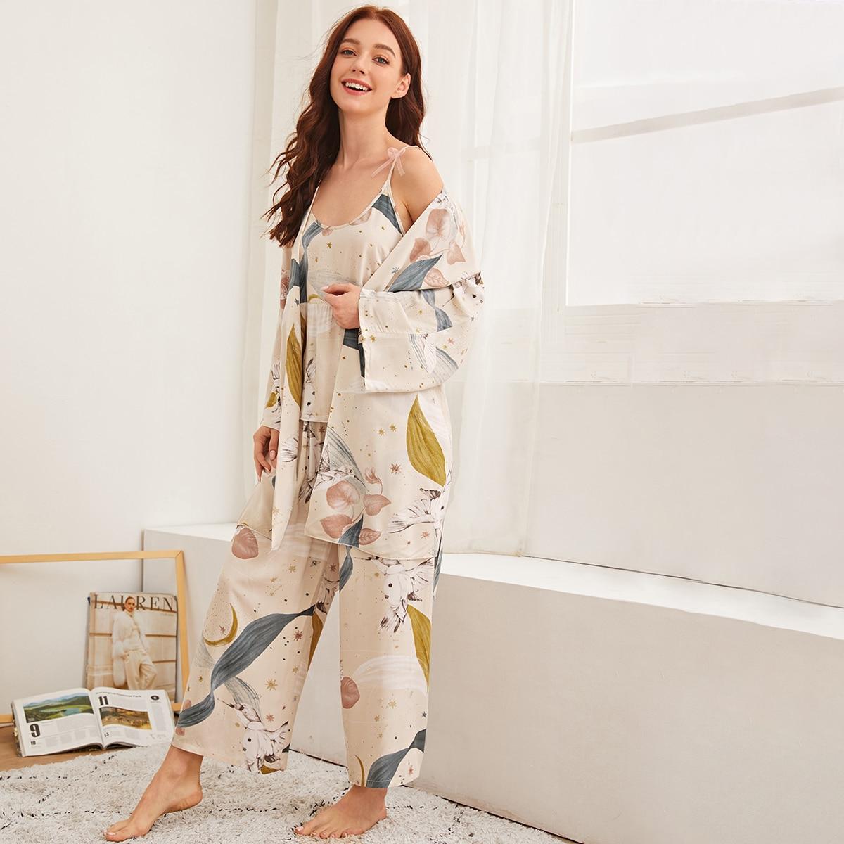 Пижама с оригинальным принтом и халат 3 пакет