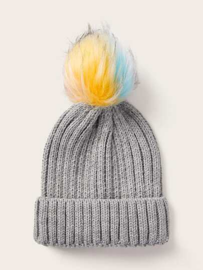 Colorful Pom Pom Decor Knitted Beanie
