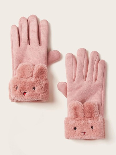 1pair Fluffy Rabbit Trim Gloves