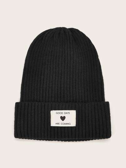 Slogan Patched Knitted Beanie