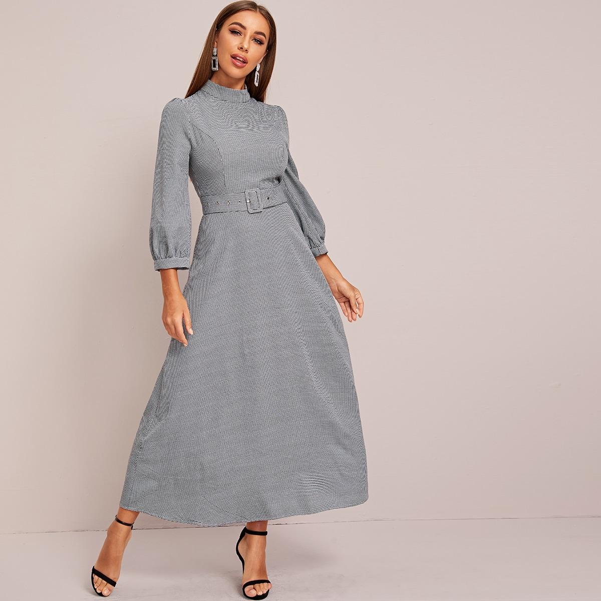 Kleid mit Stehkragen, Schnalle, Gürtel und Hahnentritt Muster