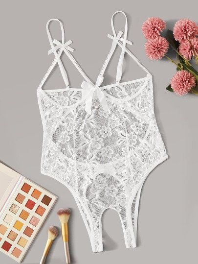 Floral Lace Crotchless Teddy Bodysuit