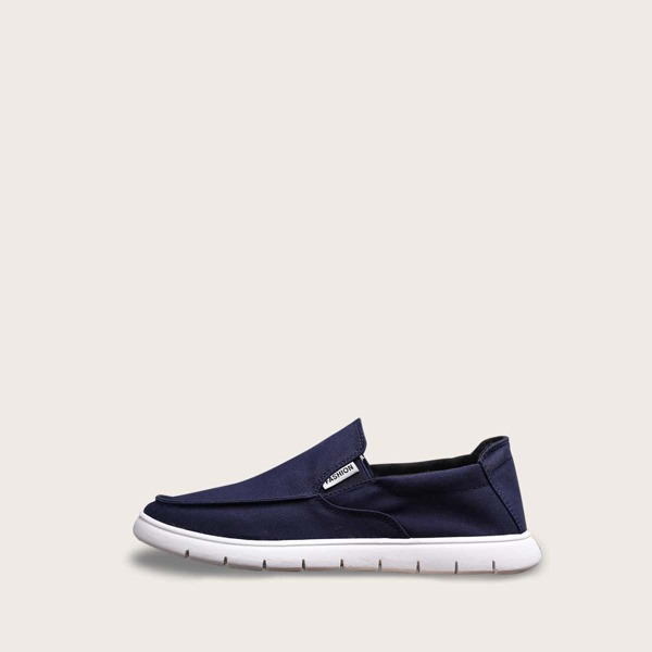 Men Wide Fit Flat Loafers, Navy