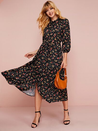 Ditsy Floral Ruffle Hem Drawstring Waist Dress