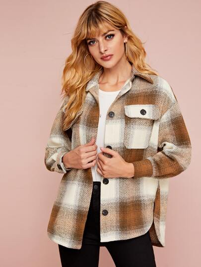 Plaid High Low Curved Hem Coat