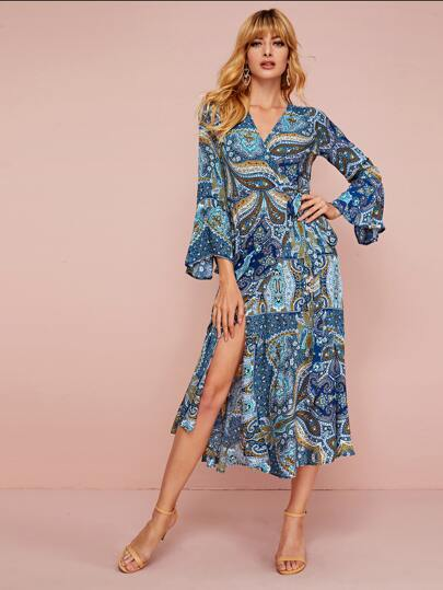 Paisley Pattern Split Thigh Tie Wrap Dress