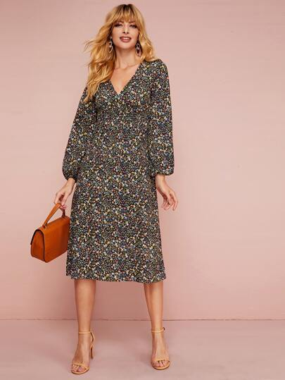 Ditsy Floral Shirred Waist Dress