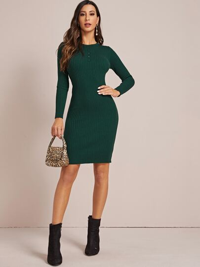 Rib-Knit Bodycon Sweater Dress