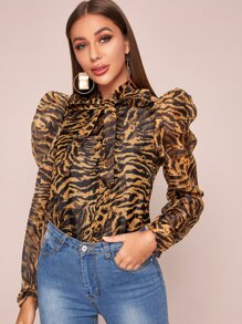Tie Neck Tiger Stripe Puff Sleeve Blouse