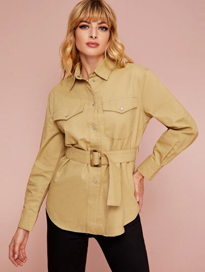 Solid Button Through Belted Utility Coat
