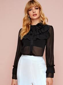 Ruffle Trim Sheer Button Up Blouse
