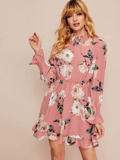 Floral Print Shirred Mock Neck Chiffon Dress