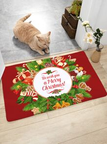 1pc Christmas Print Floor Mat