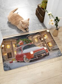 1pc Christmas Car Print Floor Mat