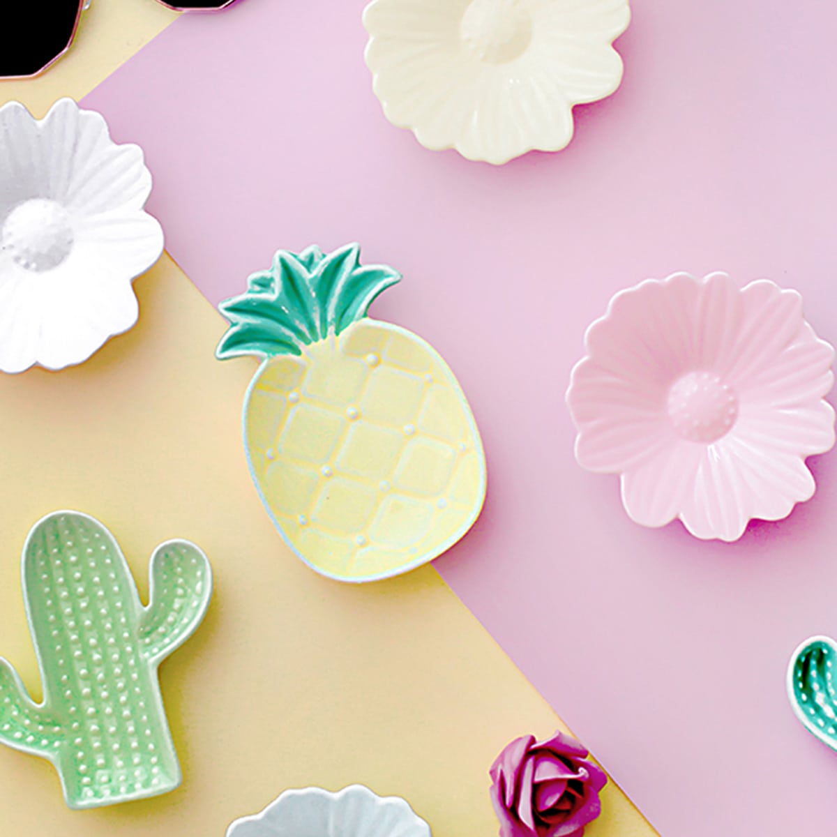 Blume & Kaktus förmige Keramikplatte 1 Stück