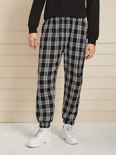 Guys Plaid Elastic Waist Sweatpants