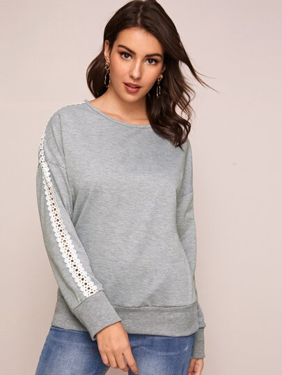 Guipure Lace Panel Round Neck Sweatshirt