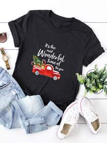 Christmas And Slogan Print Tee