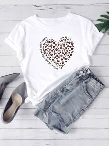 Heart And Slogan Graphic Tee