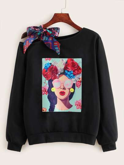 Figure Print Knotted Detail Sweatshirt