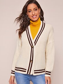 Ribbed Knit Double Button Striped Cardigan