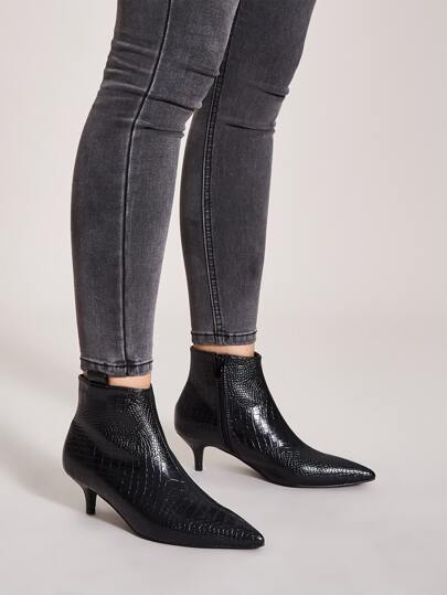 Point Toe Croc Side Zip Stiletto Heeled Boots