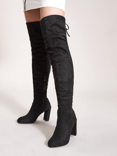 Tie Back Over The Knee Chunky Boots