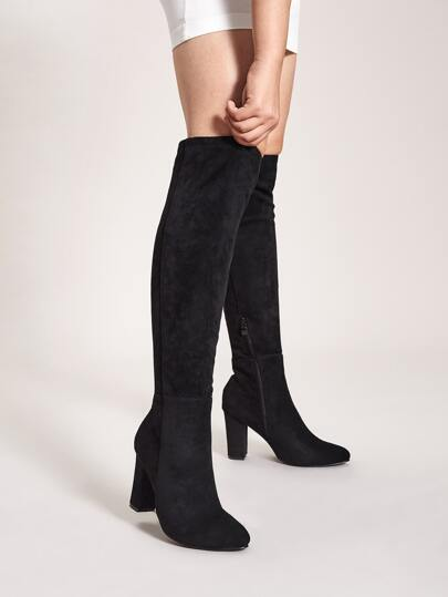 Side Zip Knee Length Chunky Boots