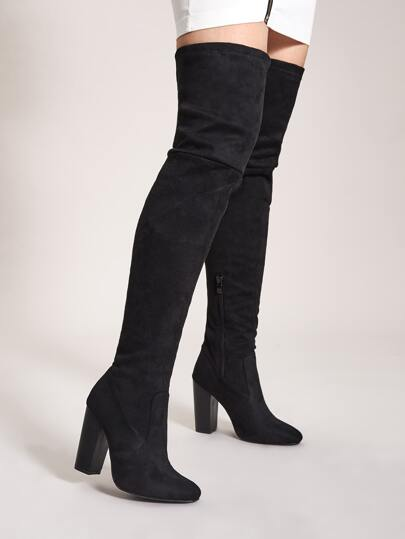 Side Zip Over The Knee Chunky Boots