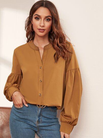 Button Front Notch Collar Drop Shoulder Blouse