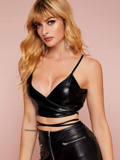 Criss Cross PU Leather Cami Top