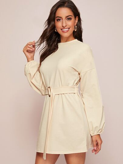 Solid Belted Bishop Sleeve Sweatshirt Dress