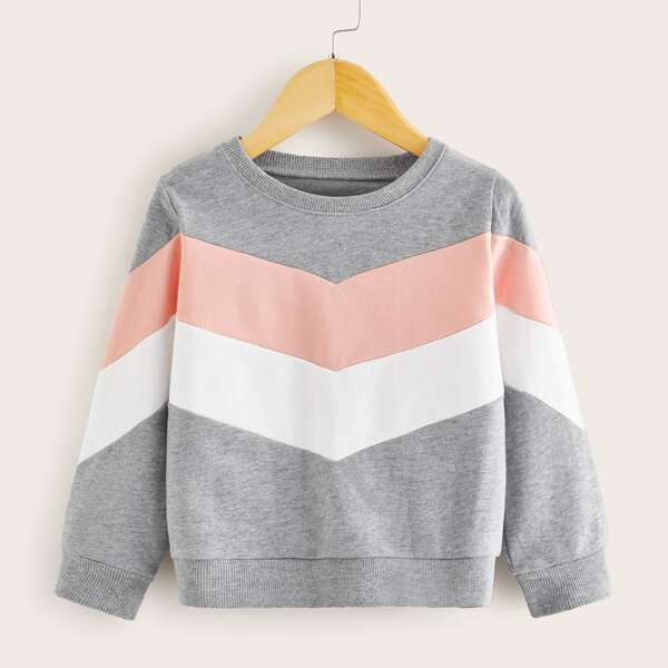 Toddler Girls Cut And Sew Chevron Sweatshirt, Multicolor