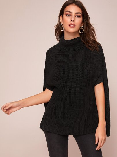 Ribbed Knit Turtleneck Poncho Sweater