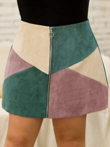 Plus Color-block O-ring Zip Corduroy Skirt